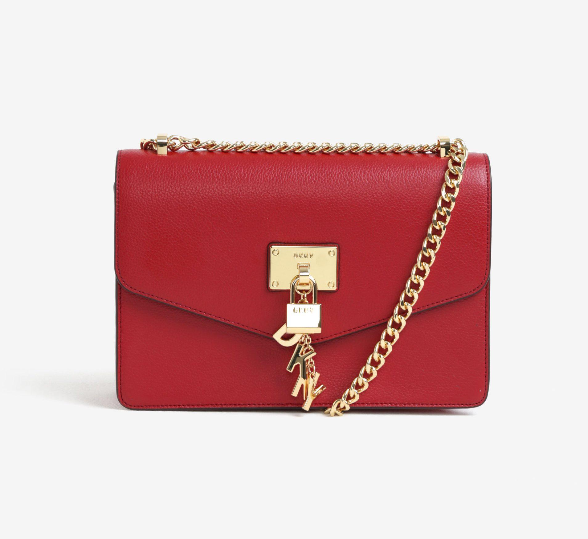 Červená kabelka od Paul s Boutique Červená kožená crossbody kabelka s  detailmi v zlatej farbe DKNY Elissa ... 5a3f8687e9