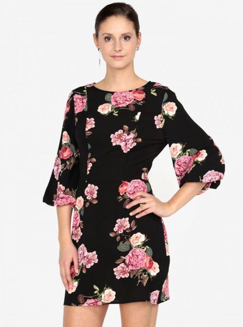 aa9fb02bf5dd Čierne kvetované šaty AX Pariss s 3 4 rukávom za 18
